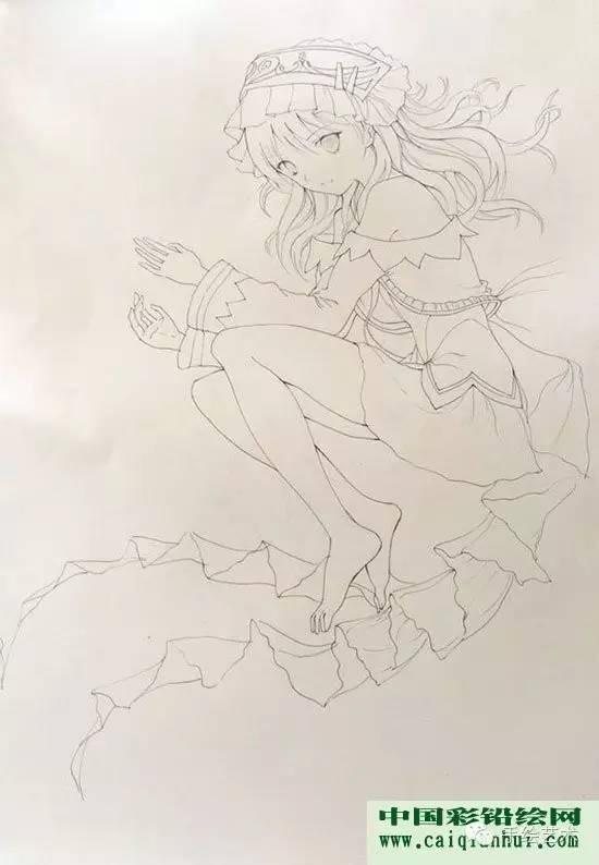 卡通人物彩铅画教程:动漫美少女彩色铅笔画绘画图文步骤