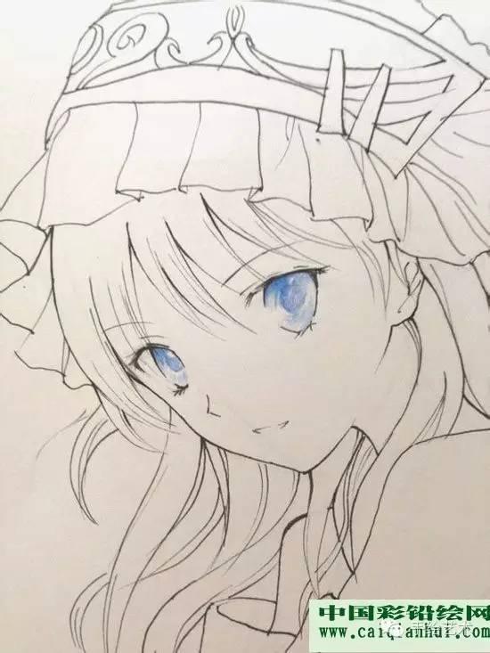 卡通人物彩铅画教程:动漫美少女彩色铅笔画绘画图文