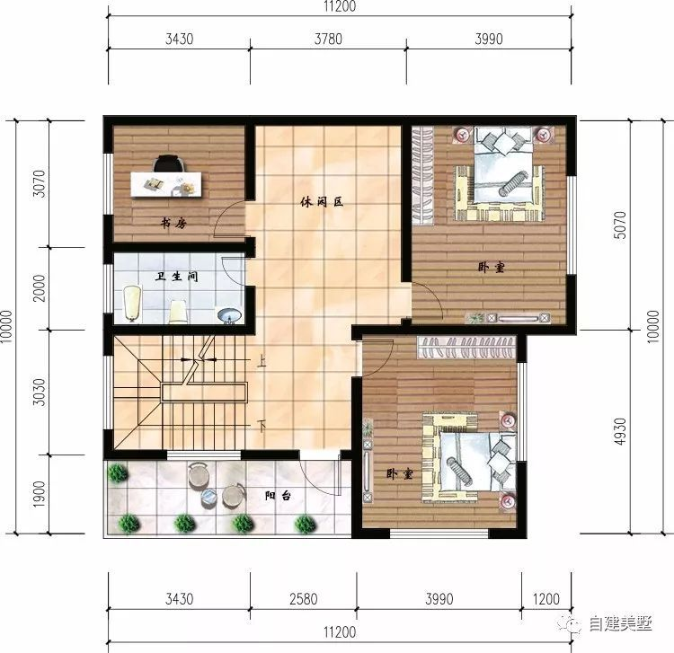 二层平面图:2卧室,书房,卫生间,休闲区,阳台.