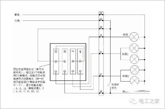 开关按钮 既然是五开的浴霸开关接线图,那么就有灯泡、换气1/换气2、照明、转向等几个开关,要让总电源控制中心控制所有的开关按钮,其他的开关能够自主独立的运作,这种方式的浴霸开关接线图,背后操作起来非常的困难和复杂。一般六开的浴霸,总共有18根接线头、16个接线柱,全部要自己排列接线,可想而知五开的浴霸,也好不到哪里去。在看现在的浴霸开关接线图,生产厂家在浴霸接线方面,已经做了简化,相比以往,要简单不少。
