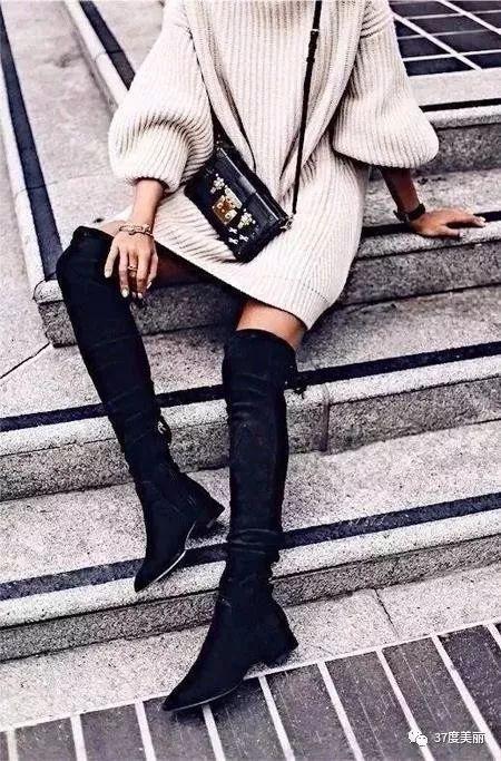 江疏影和娜扎都喜欢毛衣+长靴这个组合,你有什么理由不爱?