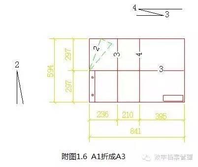 3,a2图纸折叠成a4尺寸的标准方法见下图: 二,不需要装订的图纸折叠