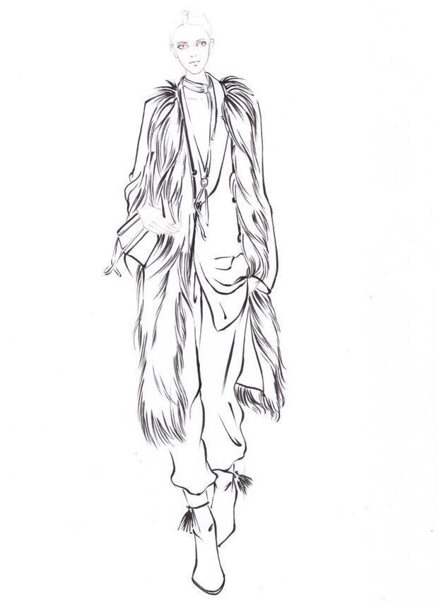 服装设计手绘皮草手绘图