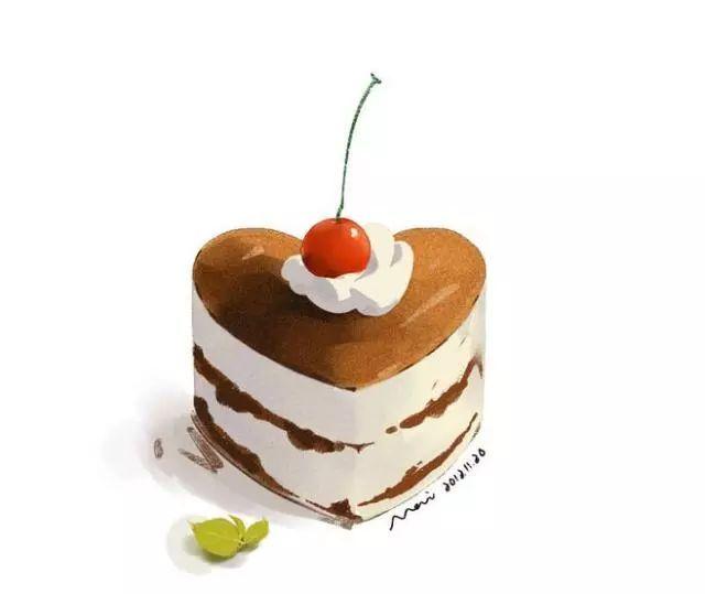 手绘小点心手绘小蛋糕手绘心形甜点小点心下午茶