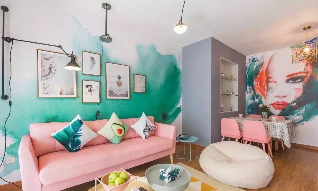 69㎡治愈系ins风小窝,想把个性彩绘墙面和马卡龙色家具搬回家!