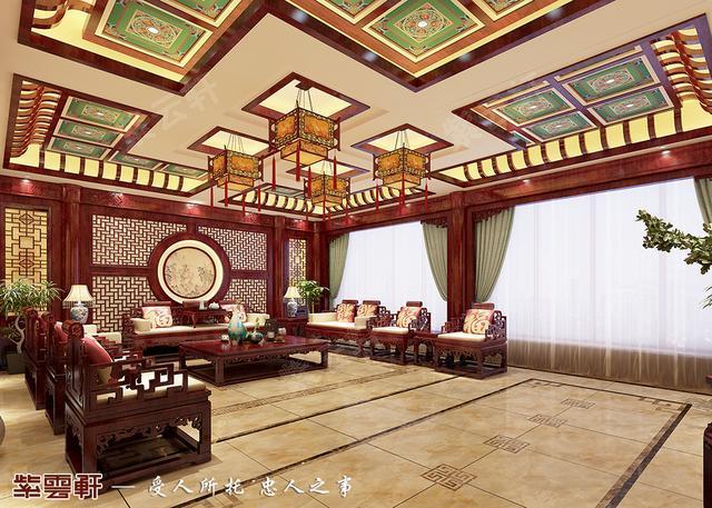 中式装修效果图,雕梁画栋的藻井承载了宫廷式建筑的雍容华贵风,卍字格图片