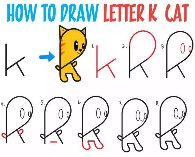 趣味英语 26个英文字母创意简笔画,假期陪孩子一起玩吧图片