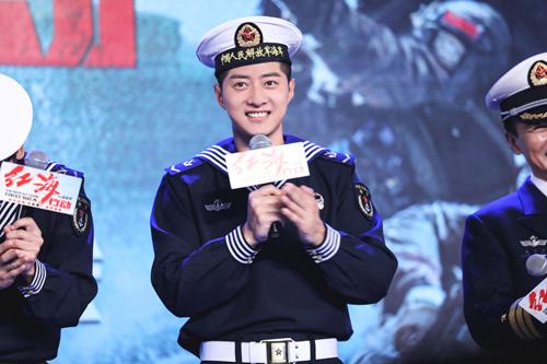 《红海行动》发布会 郭家豪出演医疗兵致敬海军