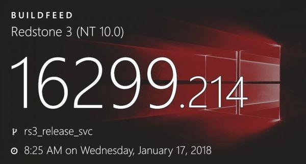累积更新KB4058258发布:Win10版本升至16299.214