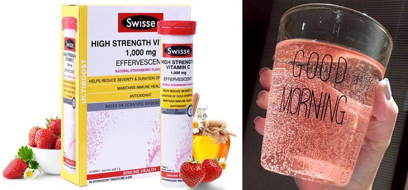 swisse草莓味高浓度维生素C泡腾片