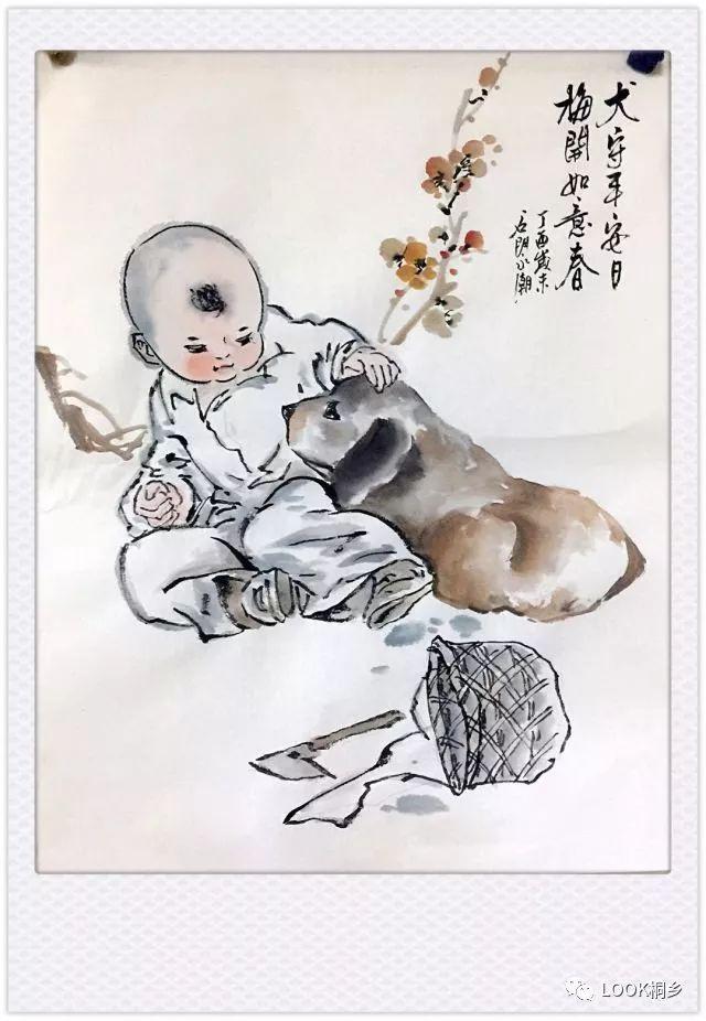 这位桐乡水墨写意画家要送狗年生肖童趣图?想要的赶快举手!图片