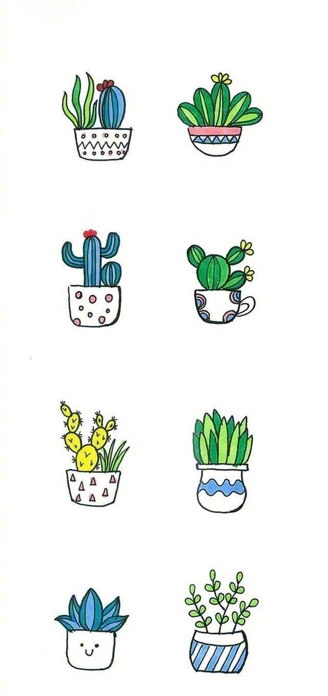 分享一波可爱又简单的小盆栽手绘简笔画 , 哄娃 手帐都能用得上,马克 新技能