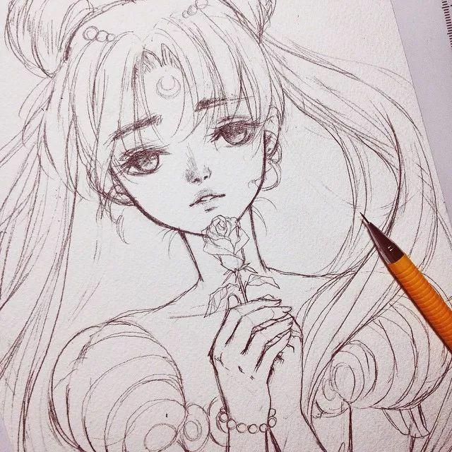 如此灵动的动漫人物铅笔稿,拿走不谢!