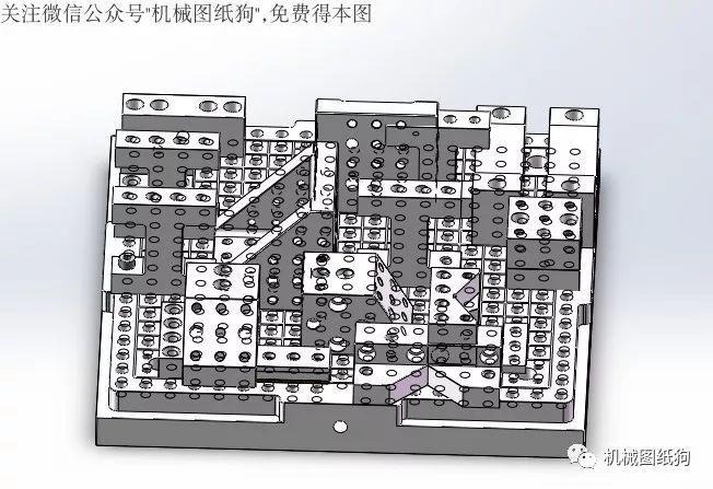 【工程机械】蓝系组合夹具3d模型图纸 solidworks设计