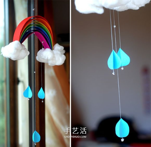 自制彩虹风铃的方法 卡纸制作彩虹风铃教程图片
