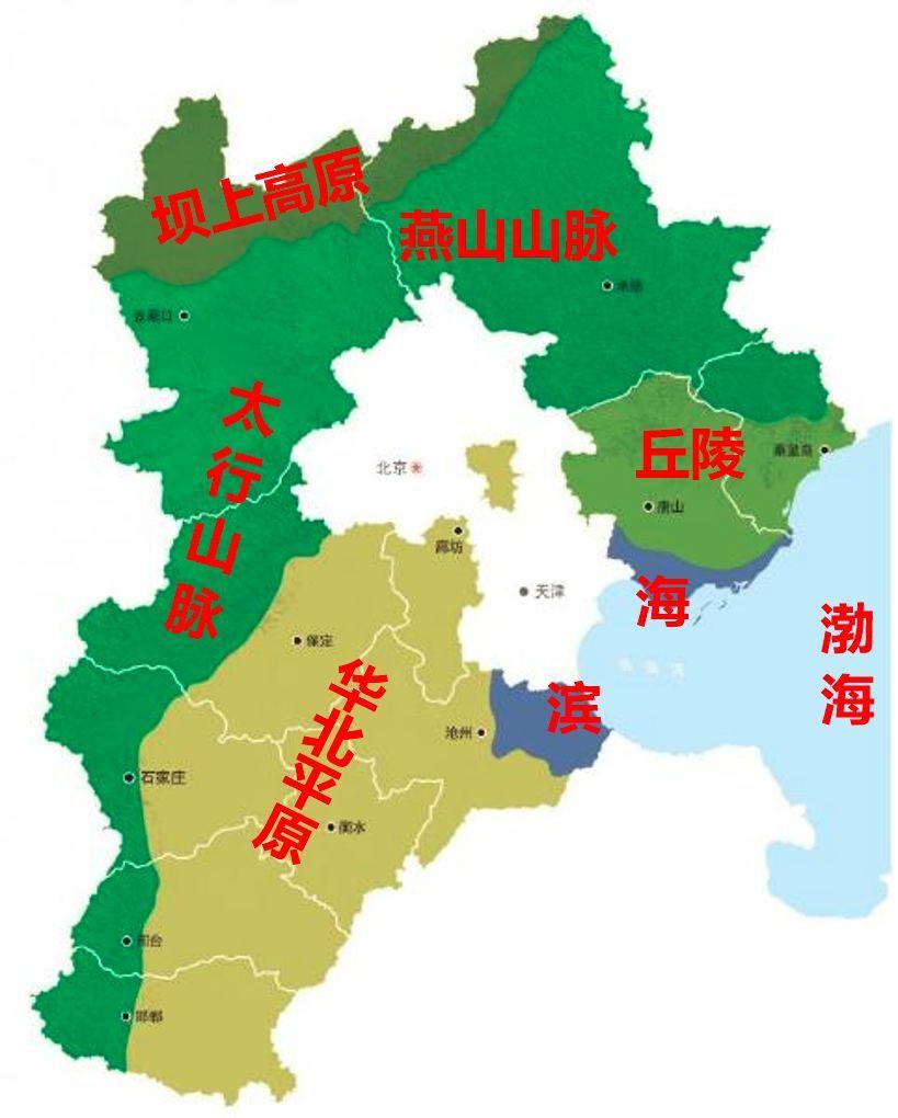 西边与山西交界的省界就是太行山脉,南部是平坦的华北平原,东边滨临