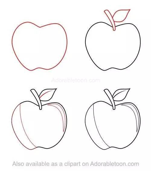 几笔画出这些蔬菜与水果