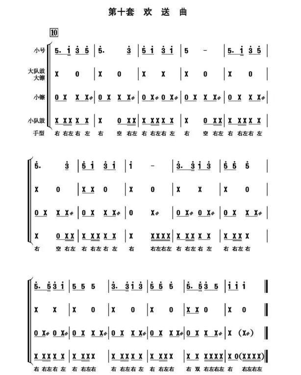 小学三年级以下少先队鼓号队可先学习第一套开场曲和第二套进行曲,并