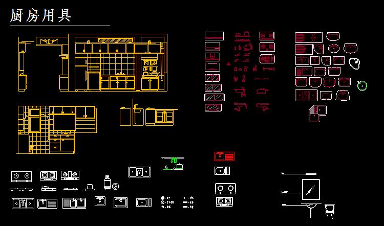 家电,植物装饰等平面立面图块,图纸均为dwg格式,适合cad家装设计绘图