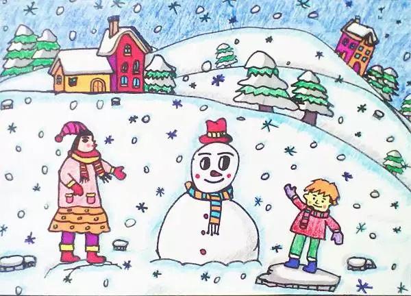 冰天雪地雪景儿童画图片