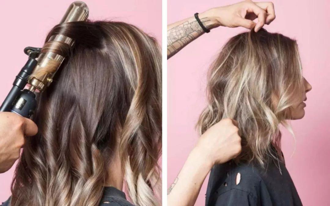 用大号卷发棒卷好,再在每小卷里中拿出一根头发为中心打乱它,打造发型图片