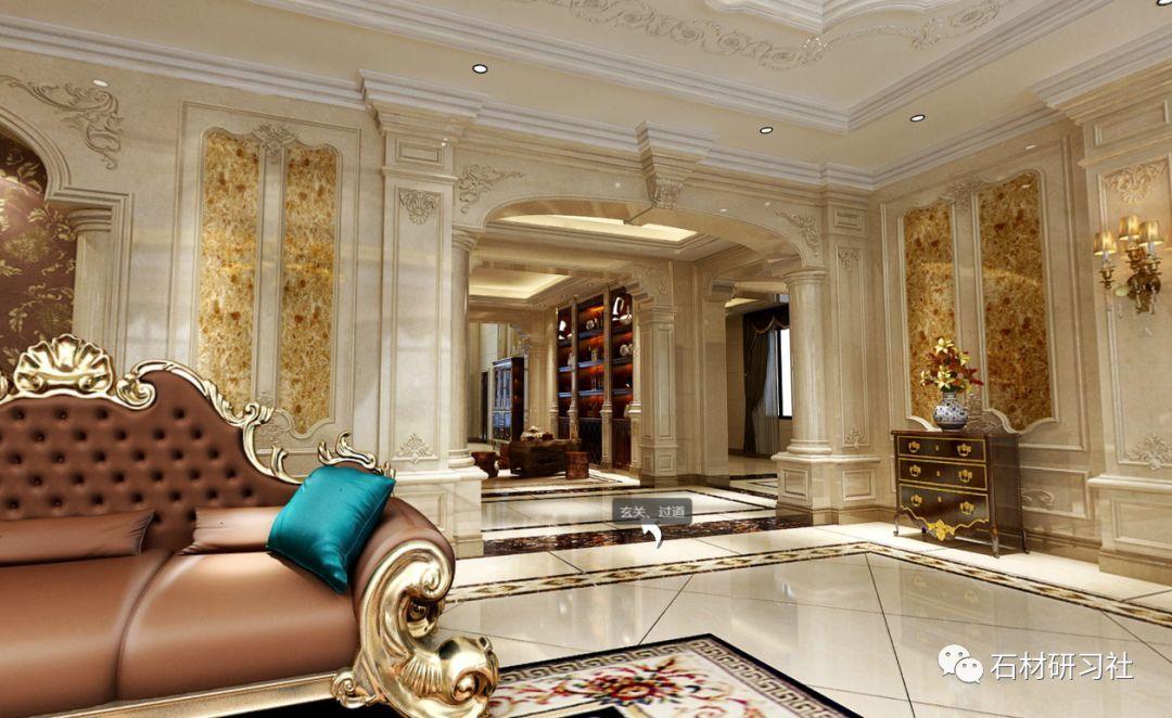 提示: 这套别墅装修设计案例,采用欧式风格的设计,大面积使用大理石