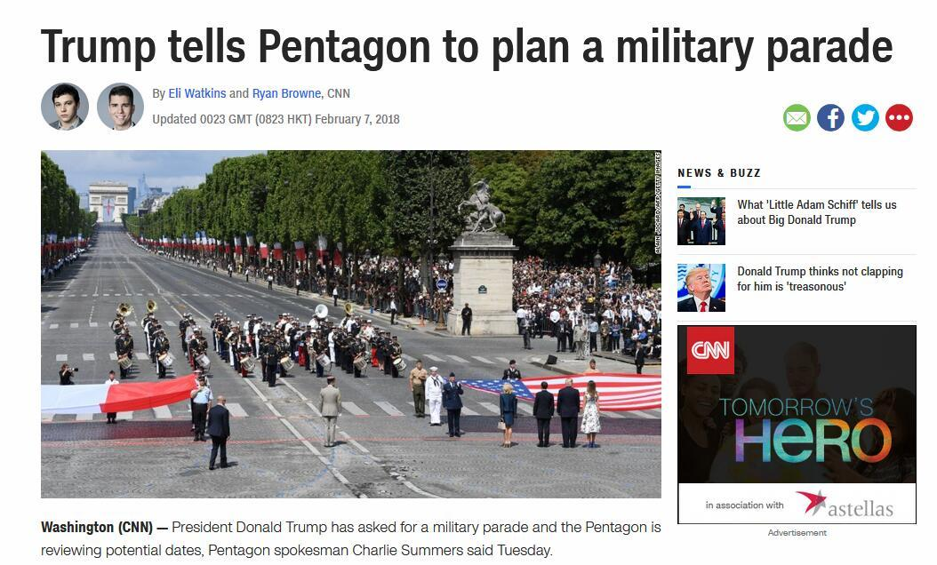 特朗普,决定要进行阅兵了!已发出要求!