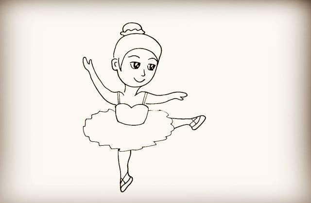 第十八步   画出正在跳舞站立的一条腿.是踮着脚尖的.