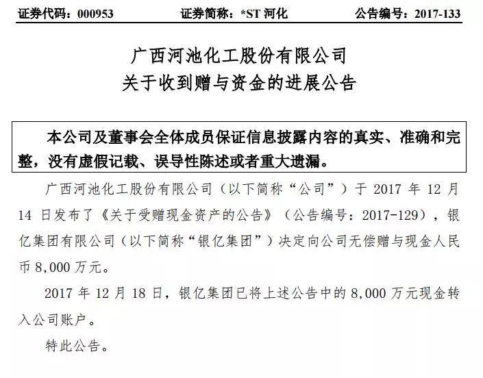 """2017年12月,宣布终止重组后并连续7个交易日跌停的*ST河化迎来了""""救命稻草""""。"""