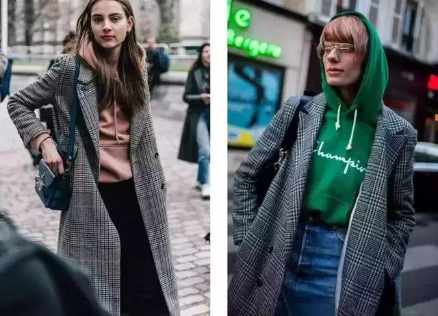 时尚 正文  版型简洁大气的大衣 与减龄满满的卫衣搭配 再把头发扎图片