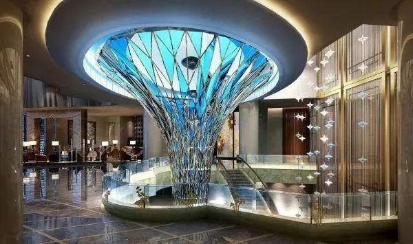 酒店入口及大堂 dda对空间进行再塑, 表现出水元素的连贯性和造型上图片