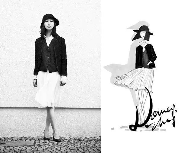 时装搭配丨她的手绘的时装插画,