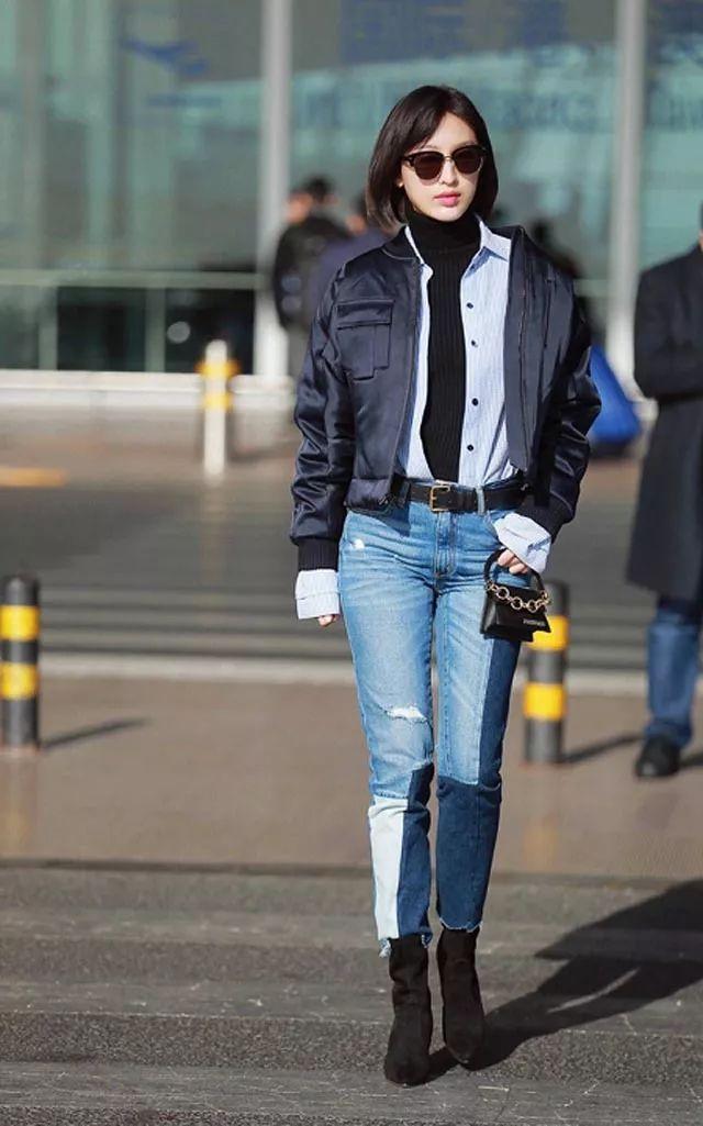 一年四季都离不开的时髦单品,拼接牛仔裤经典好搭配!