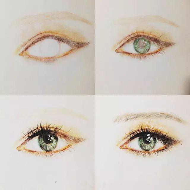 美轮美奂的彩铅眼睛手绘,灿若星辰