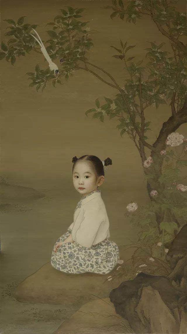 长长的头发,萌萌的表情, 《回眸》 万里在作品中加入  中国画,工笔画