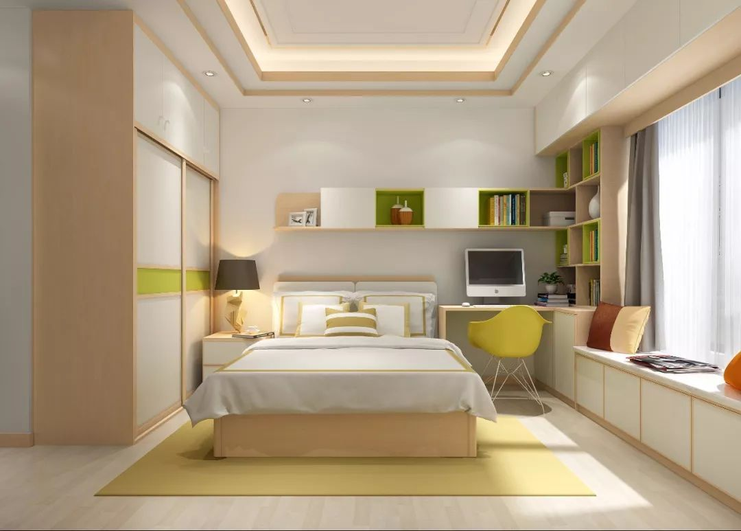 有飘窗设计的卧室可以将壁挂开放格升级,连接飘窗柜,变身l型收纳,不管图片