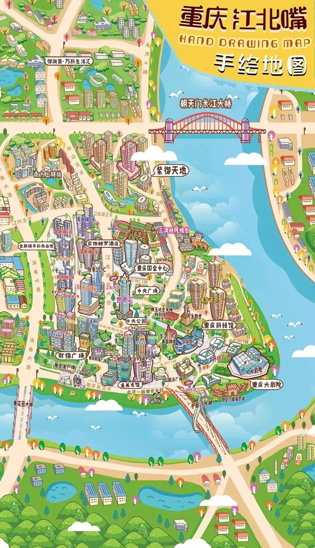 江北嘴手绘地图