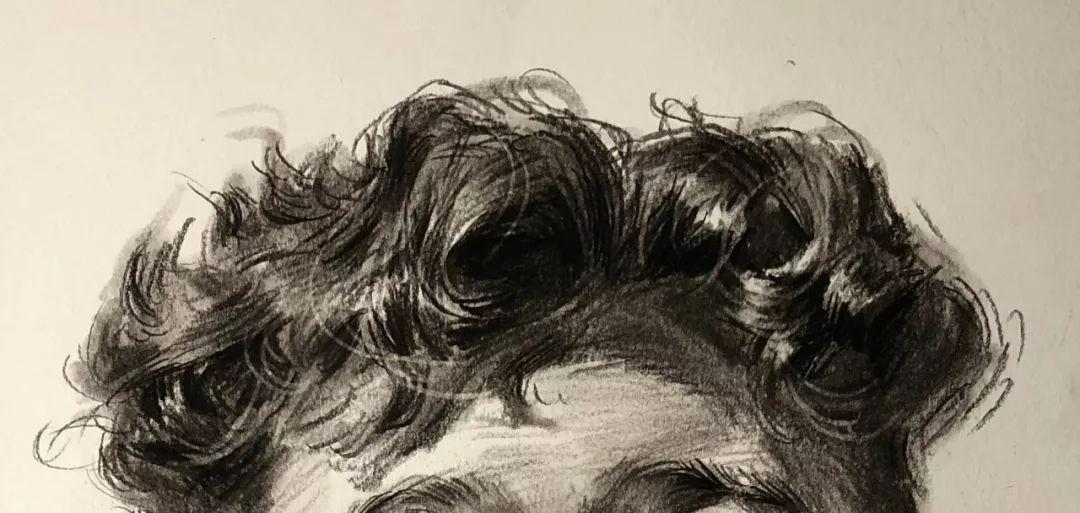 教你画壮实的卷发男青年正面素描头像,看起来咯
