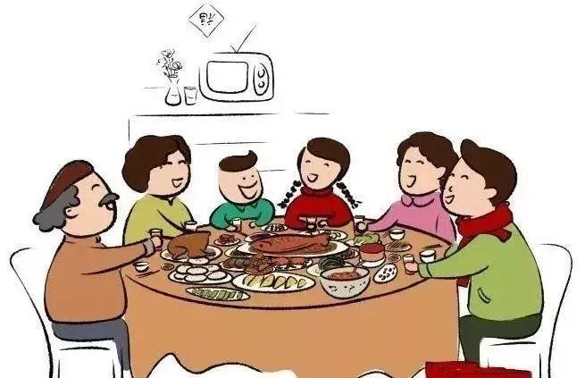 一家三口吃饭卡通图