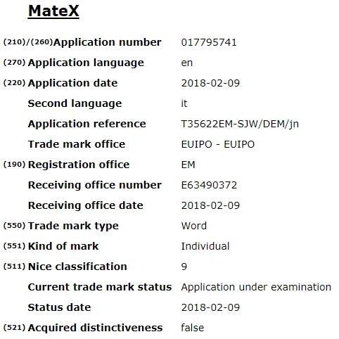 华为Mate X商标在欧盟知识产权局网站出现