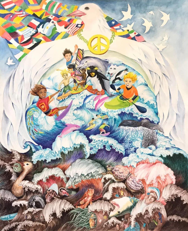 文化 正文  获奖学生:梁苏悦 指导学校:南北美术出色艺术坊 《和平的图片