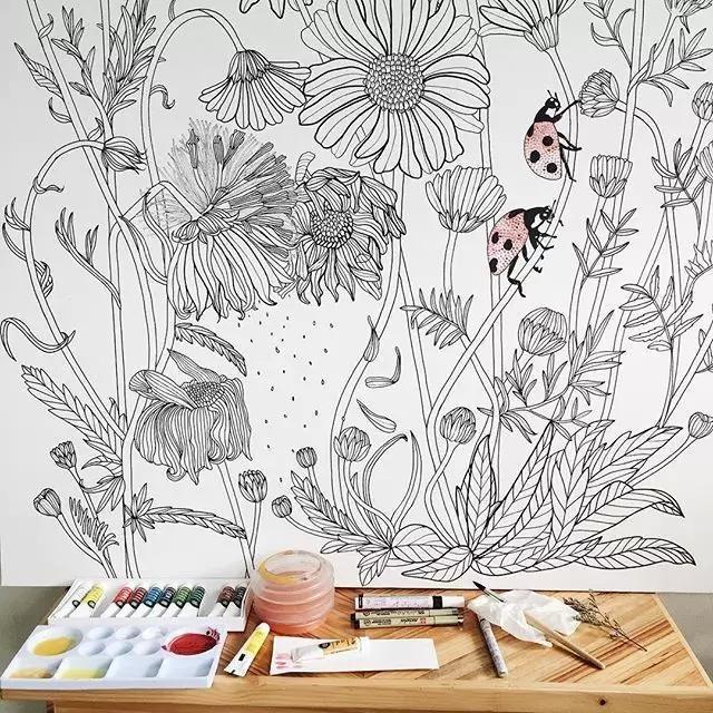 彩铅手绘照片墙