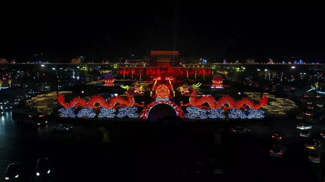 """現代唐人街小年夜燈光秀活動的啟動,拉開了""""西安年·最中國""""新春盛典圖片"""