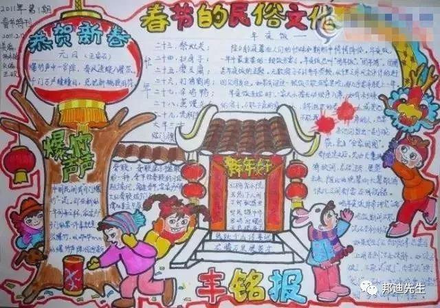 春节的民俗文化_小学生新年手抄报图片