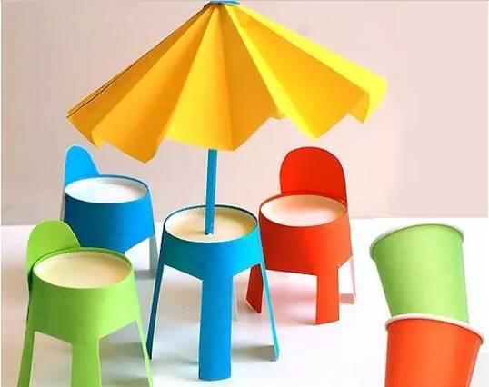母婴 正文  漂亮的纸杯沙滩椅 制作步骤:给纸杯涂上孩子喜欢的几种