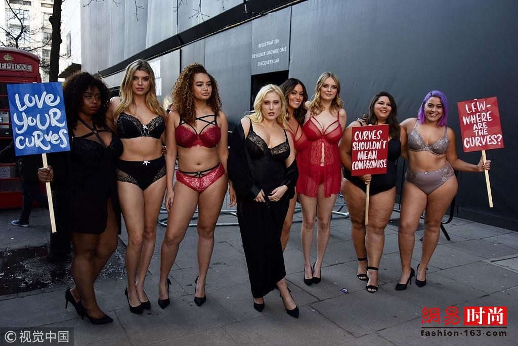 超大号模特街头抗议t台走秀对体重的要求