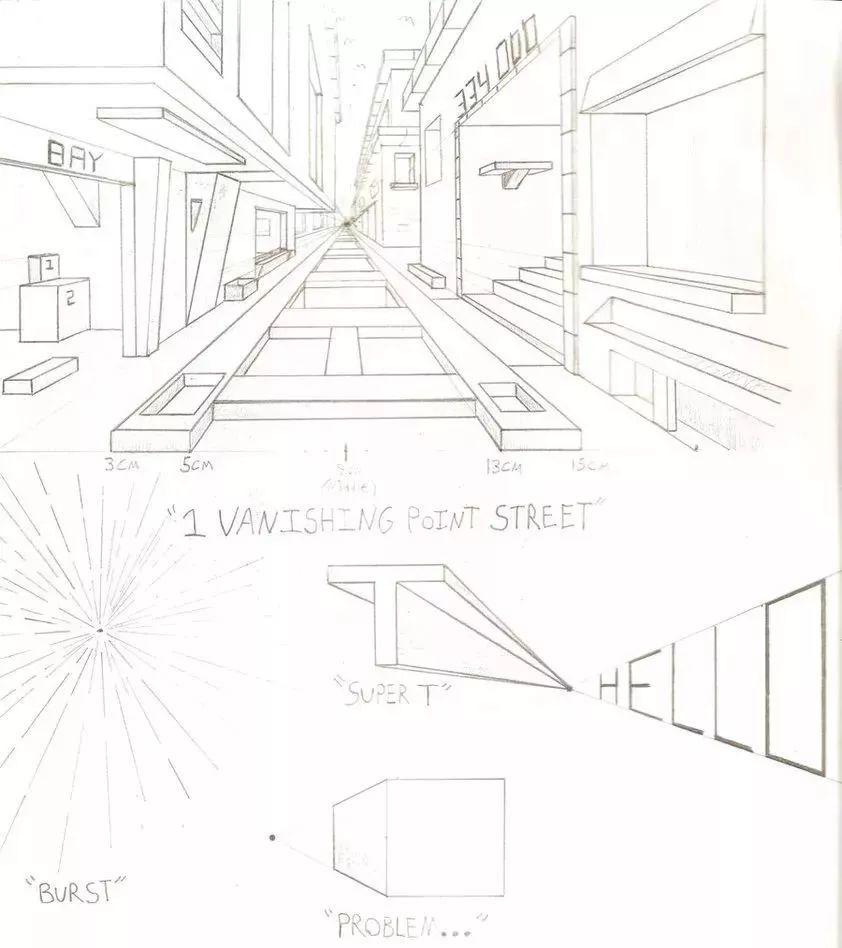 三点透视街道手绘图