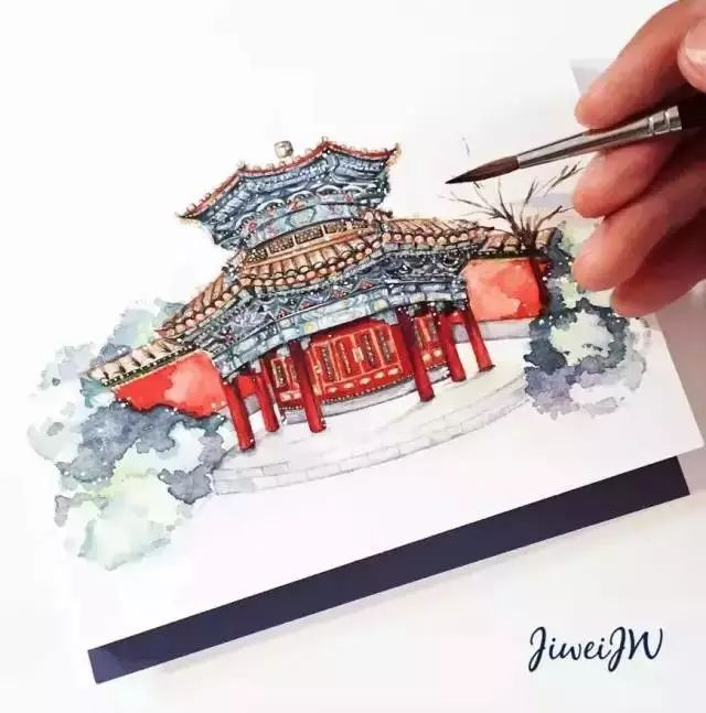建筑画手绘 水彩笔