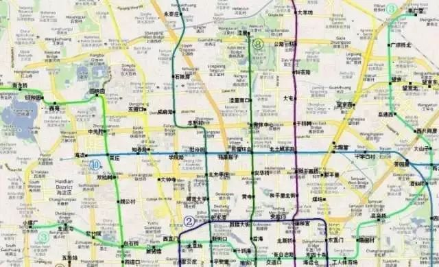 上图为1988年地铁局部规划图(局部)
