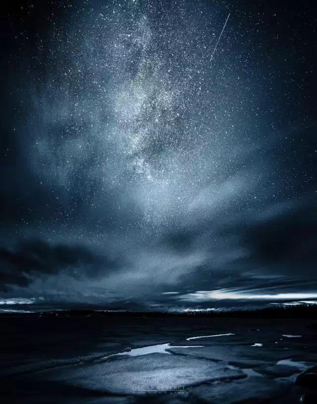 震撼星空 零下30度的蓝色寒冷夜空